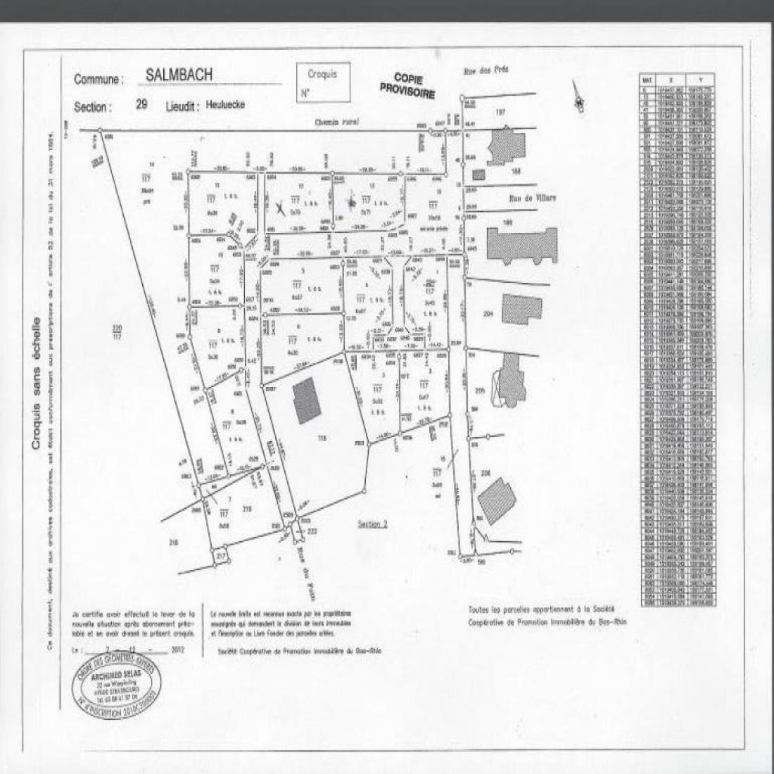 Plan du lotissement SALMBACH